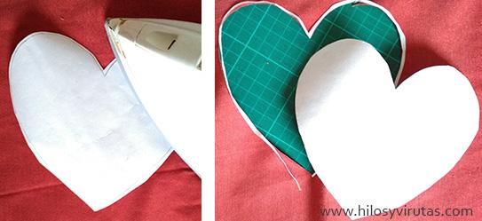 aplicaciones corazón tela