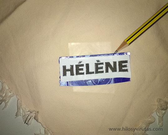 papel de calco bordar nombres