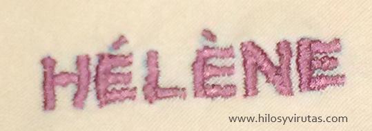 nombre bordado con maquina de coser