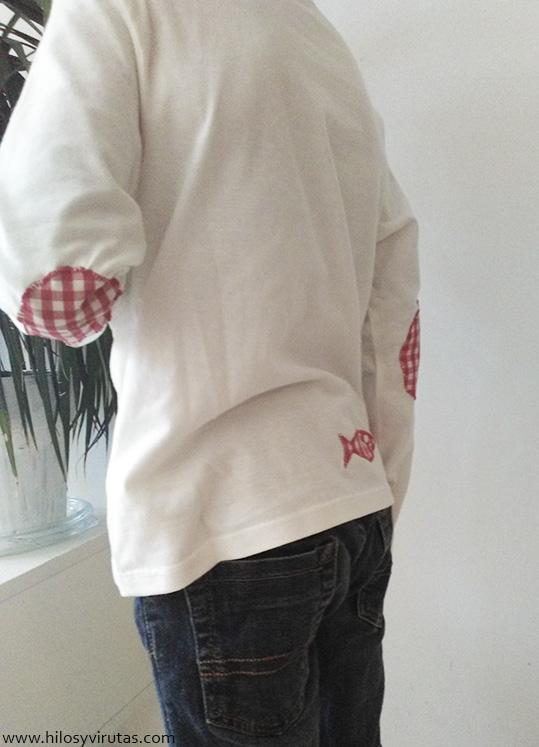 camiseta con coderas parches
