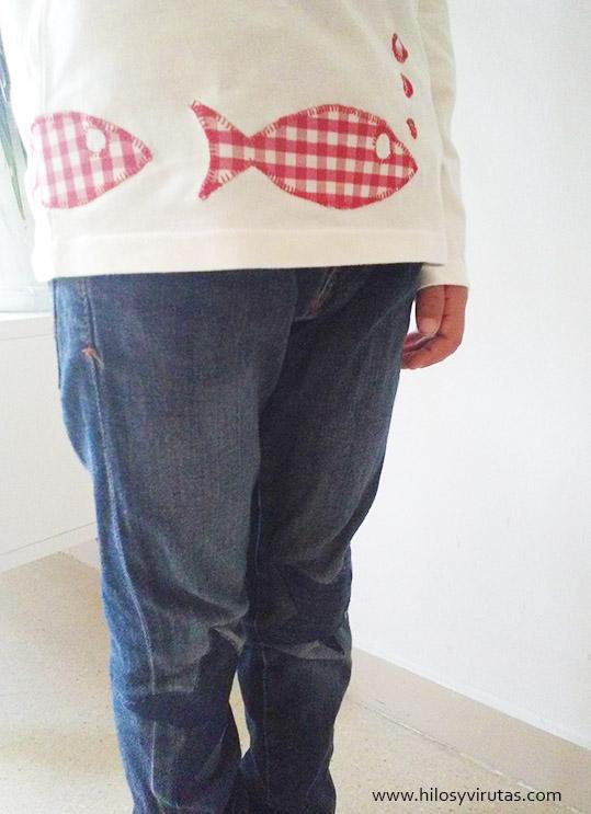 camiseta peces aplicaciones rodilleras parches pantalón
