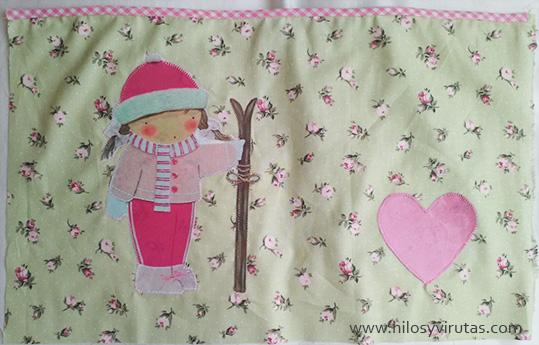 muñeca esquiadora rosa