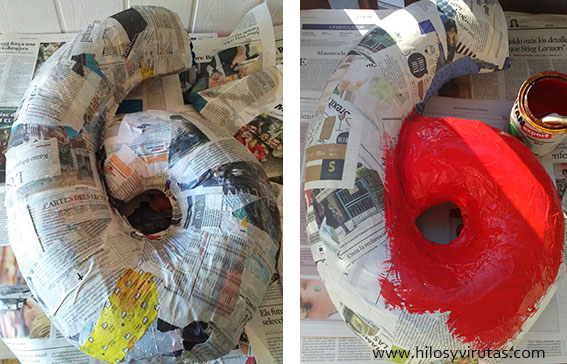 pintar piñata papel mache pintura tiza pared