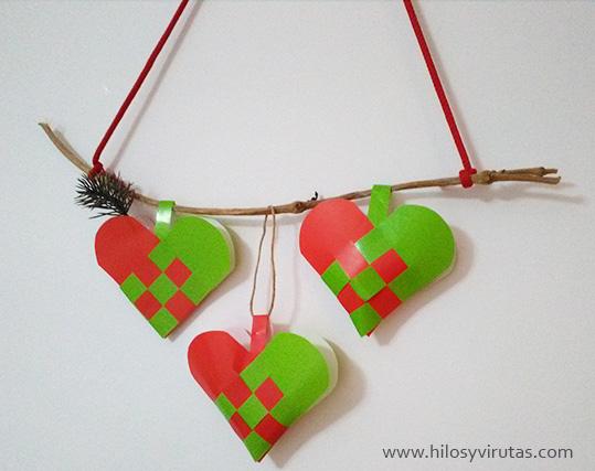 cestitas suecas papel corazon navidad