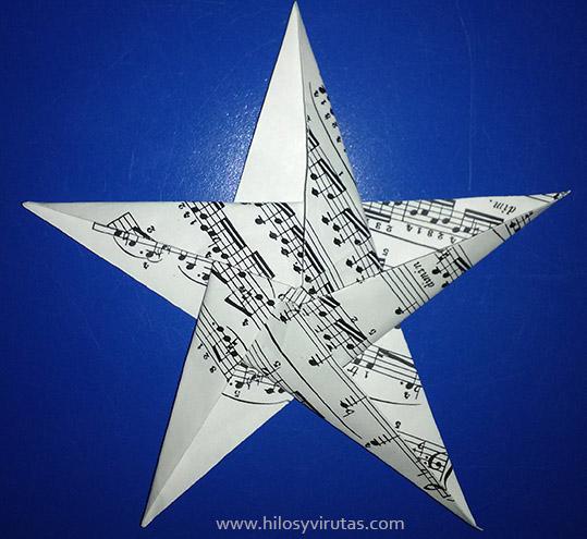 estrella 5 puntas papel origami