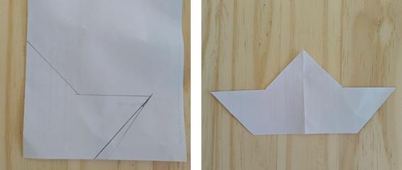 barco papel plantilla madera