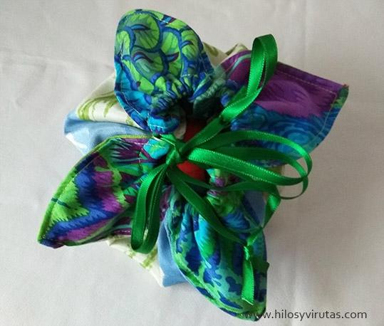 favour bag bolsita cesta regalos con petalos tela