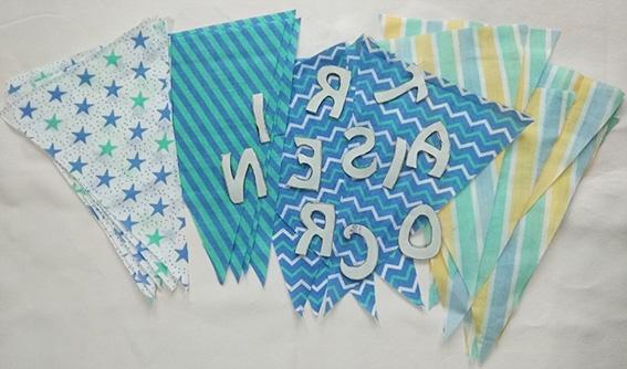 tela banderines letras aplicaciones