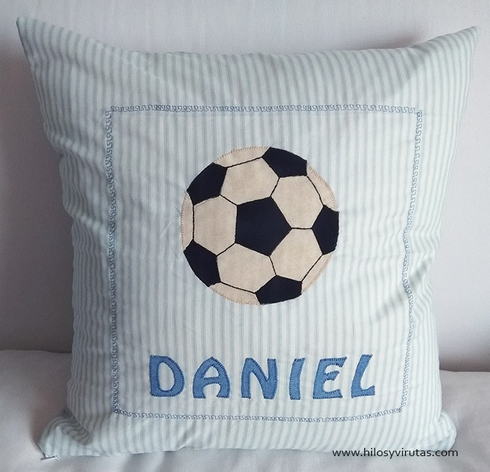 cojín futbol pelota patchwork