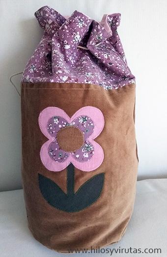 bolso tubo flor pana petate rosa