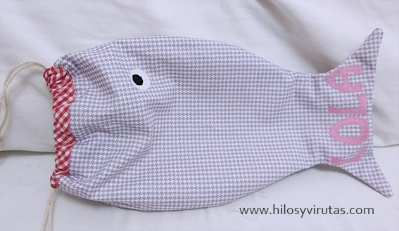 bolsa merienda forma de pez personalizada